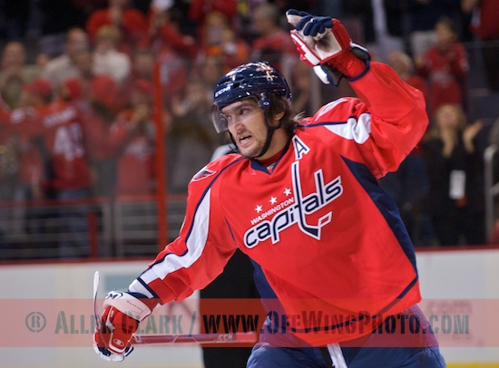 Alex Ovechkin celebrates following his goal against the New York Islanders.